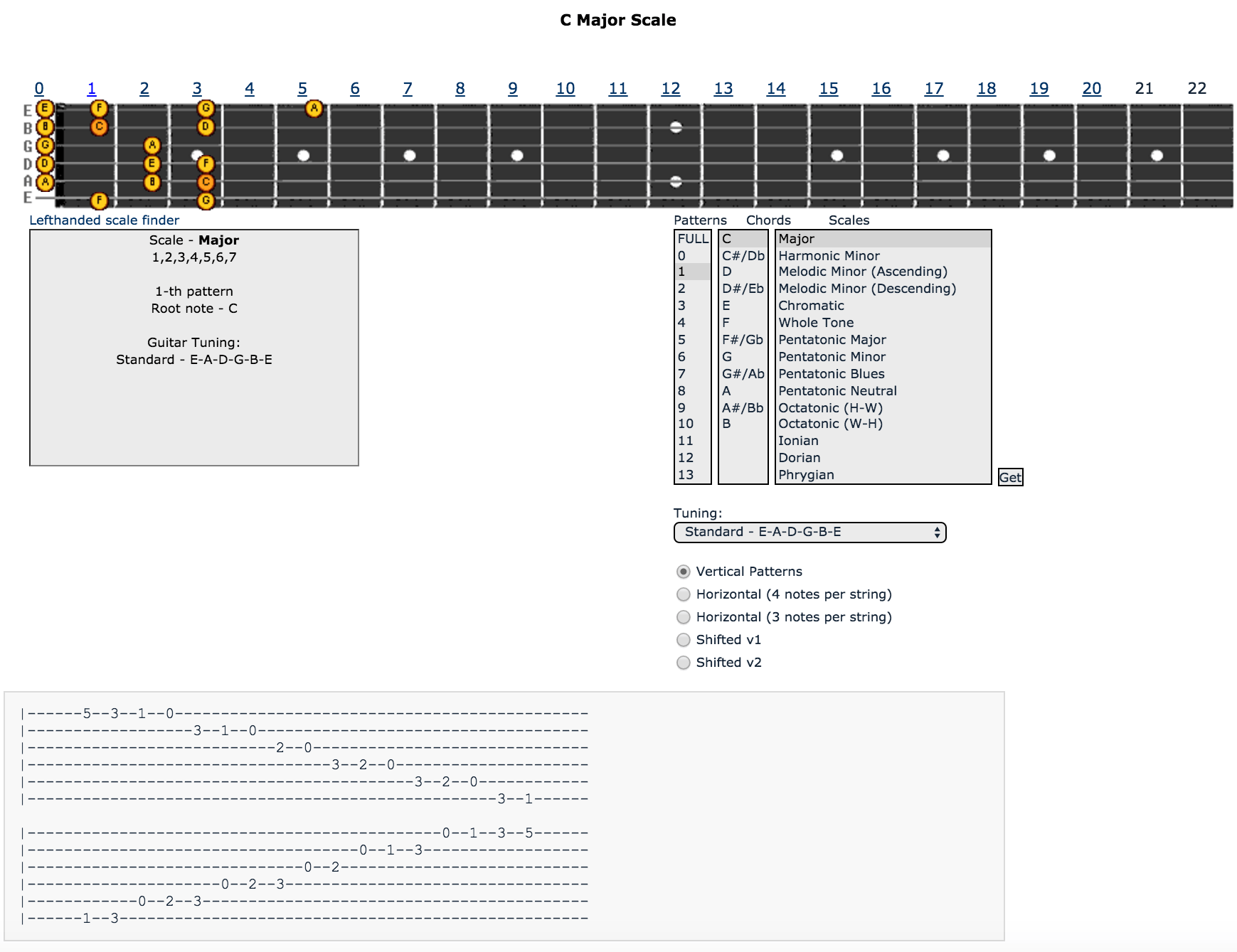 all guitar chords scale tool