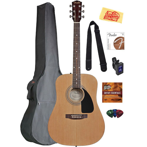 Fender FA-100 Dreadnought Acoustic Guitar - Natural Bundle with Gig Bag, Tuner,...