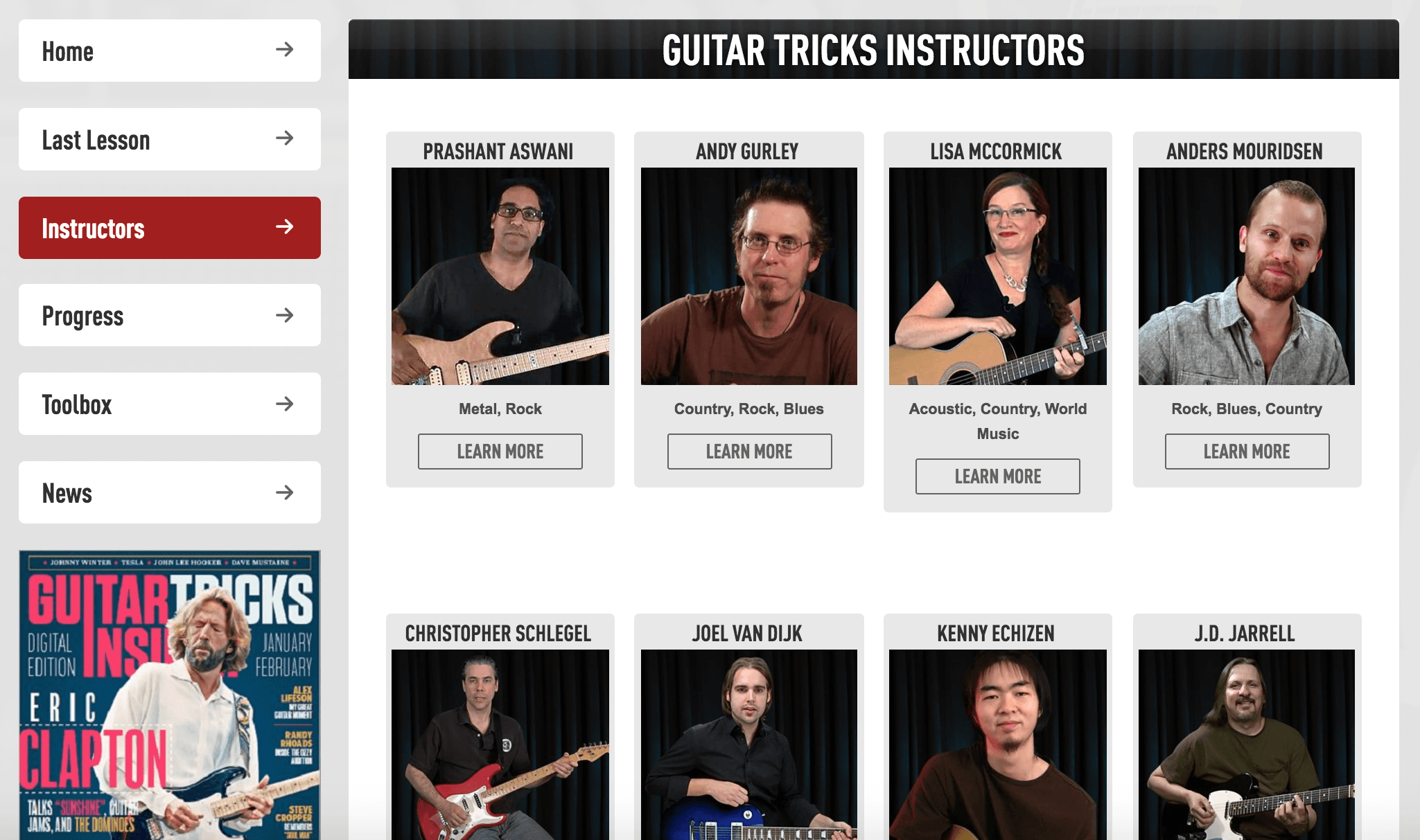 guitar tricks instructors